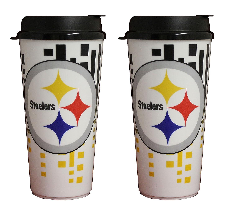 The Memory Company NFL Pittsburgh Steelers 32oz Single Wall Travel Mug 2 pack
