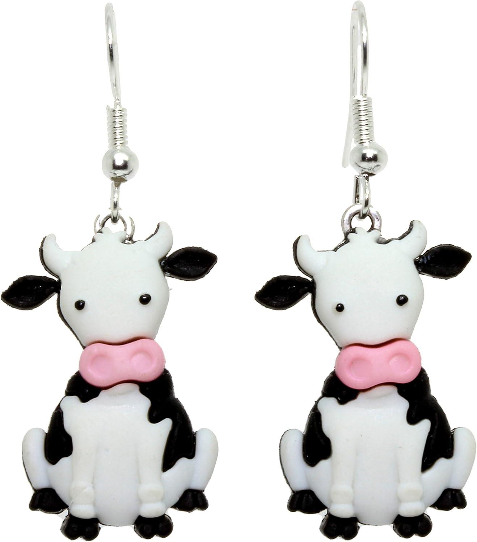 Bluebubble Boucles doreilles pendantes avec bo/îte cadeau Motif vache GO MOO Doris