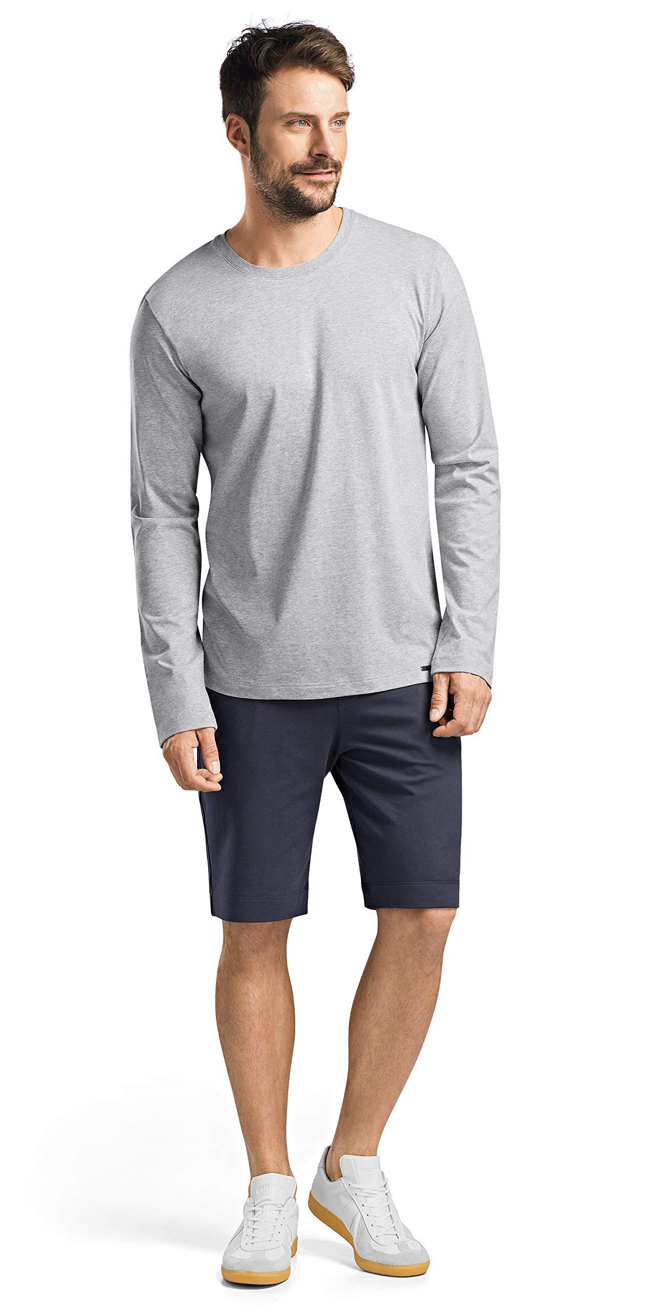 HANRO Men's Living Long Sleeve Shirt, Grey Melange, Large