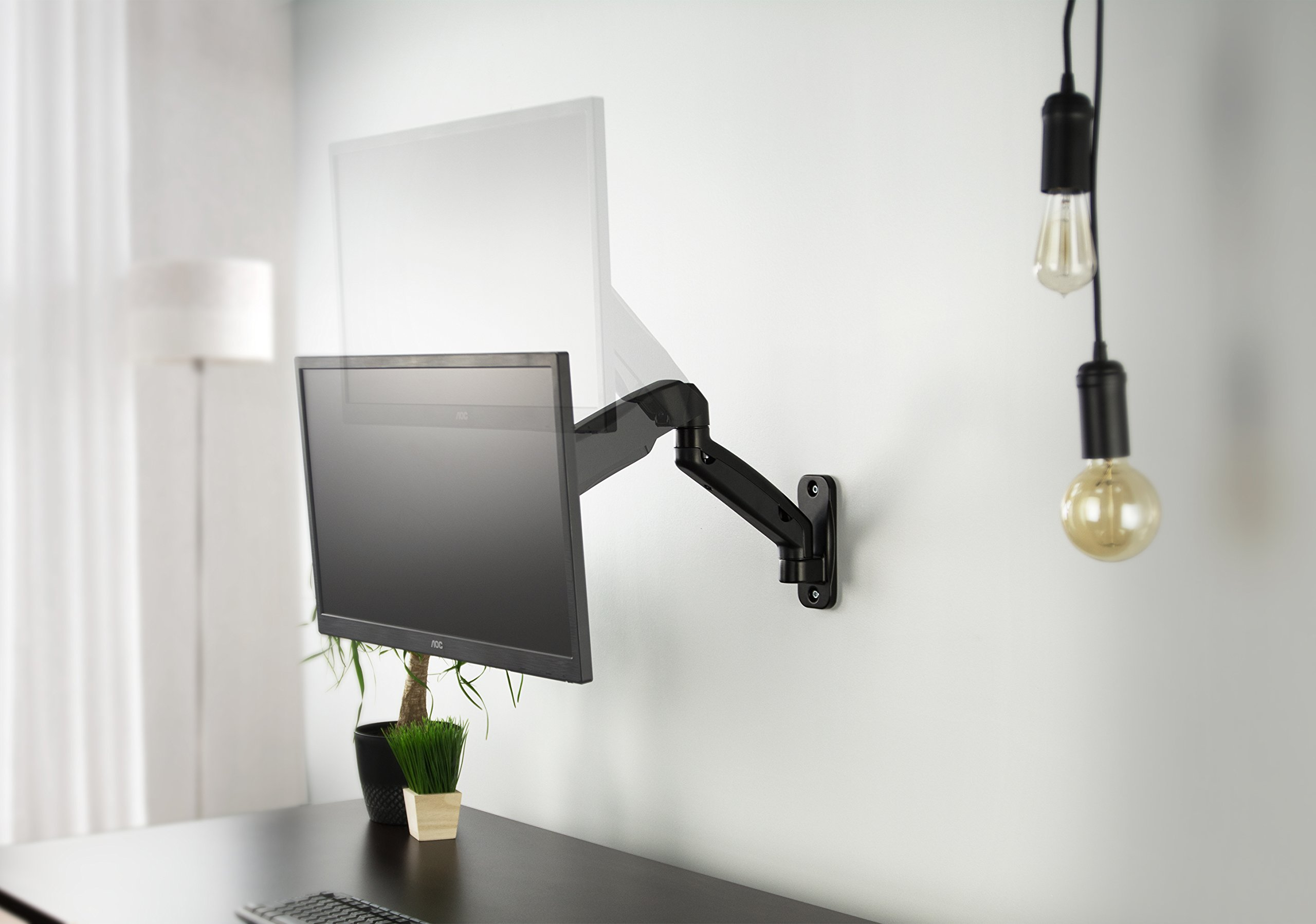 VIVO Black Height Adjustable Gas Spring Extended Arm Single Monitor Wall Mount Full Motion Articulating | fits 17'' to 27'' Screens (MOUNT-V001G) by VIVO (Image #4)