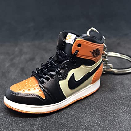 classic fit 0efd3 b983b Air Jordan I 1 Retro High Shattered Backboard Orange OG Sneakers Shoes 3D  Keychain Figure