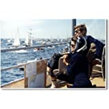 Watching the Americas Cup Race - Mrs. Kennedy & President John F. Kennedy Off Newport RI aboard the USS Joseph P Kennedy Jr - New Famous Person Poster