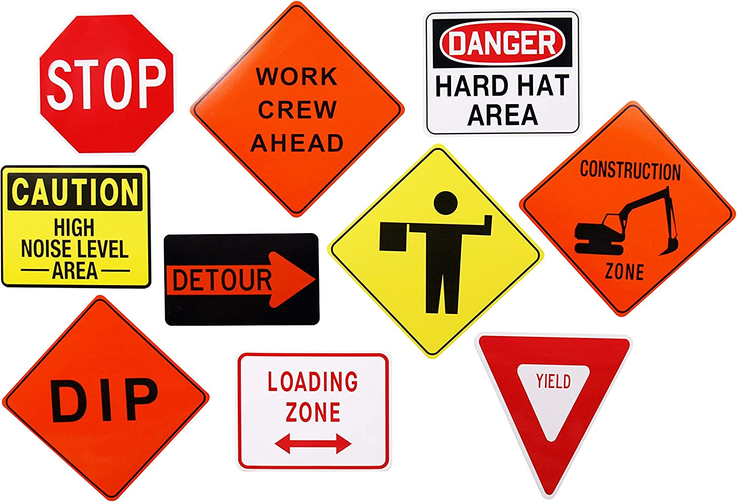 Firefly Traffic Sign Cutouts, for Construction Birthday,or Work Party Supplies. Set of 10