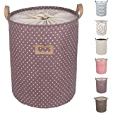 """DOKEHOM DKA0811PEL 19.7"""" Large Laundry Basket (Available 17.7"""" and 19.7""""), Drawstring Waterproof Round Cotton Linen Collapsible Storage Basket (Purple Dots, L)"""