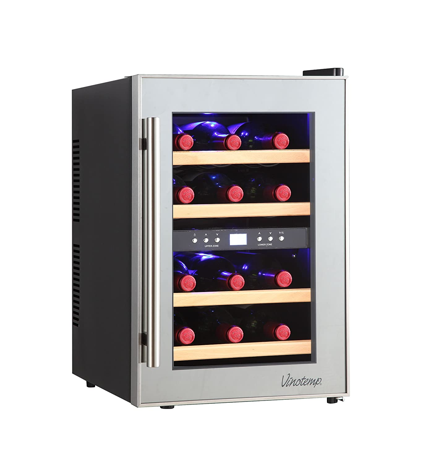 Amazon.com: Vinotemp 12-Bottle Dual-Zone Thermoelectric Mirrored Wine Cooler:  Appliances