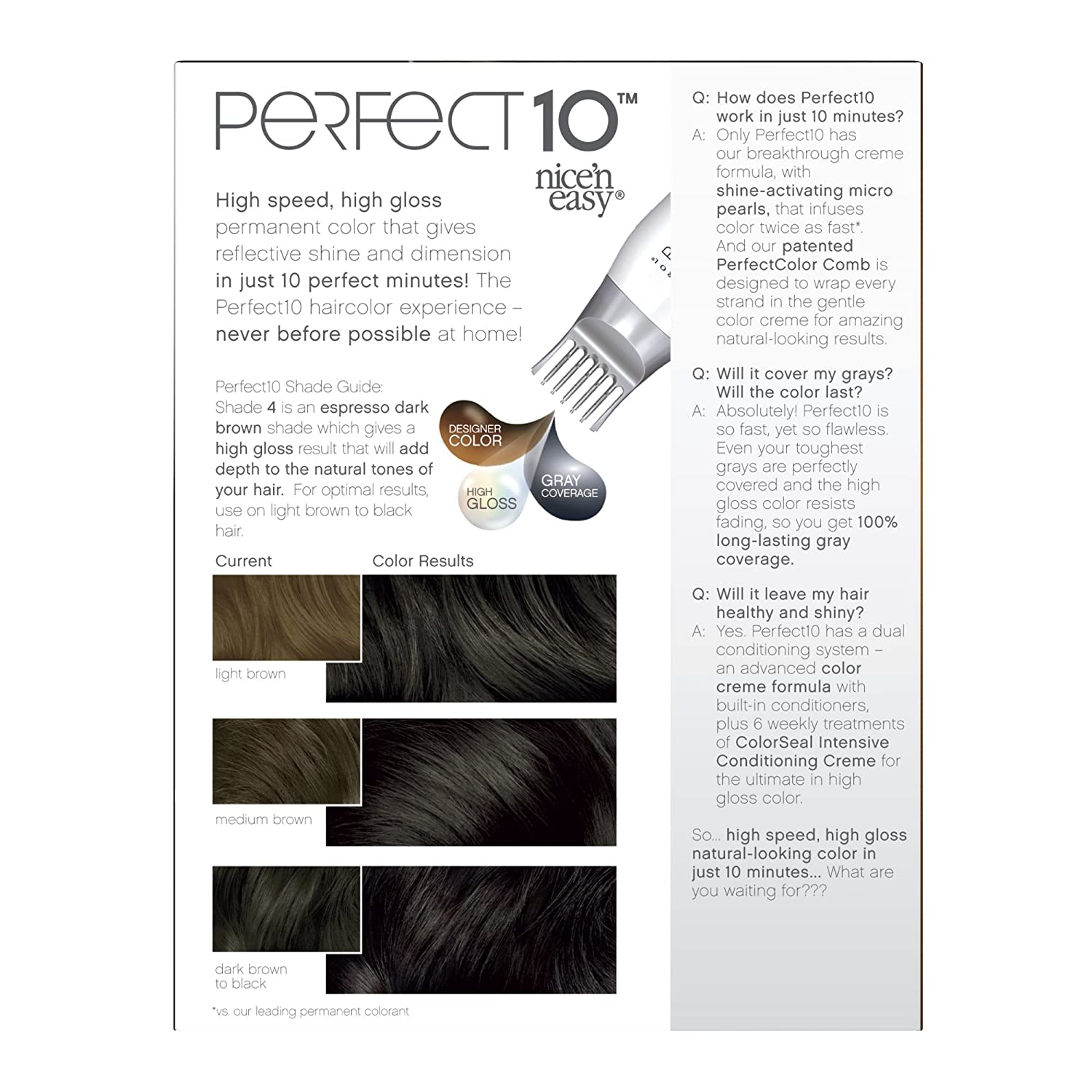 Amazon.com : Clairol Perfect 10 By Nice \'N Easy Hair Color 004 Dark ...