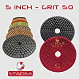 "STADEA Grit 50 5"" Diamond Polishing Pads Premium Grade Wet Flexible 2.2 MM High"