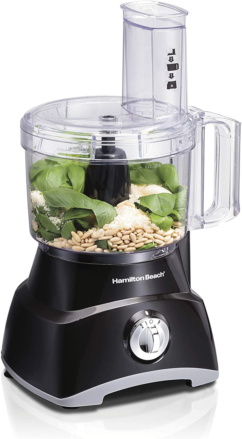 Hamilton Beach Food Processor & Vegetable Chopper for Slicing Shredding, Mincing, and Puree, 8 Cup, Black