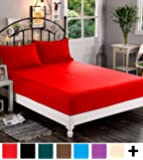 Elegant Comfort Bedding 床笠袋深 40.64 cm,抗皱不褪色 红色 加州King size 247RW-Single-Fitted-Cali-Red