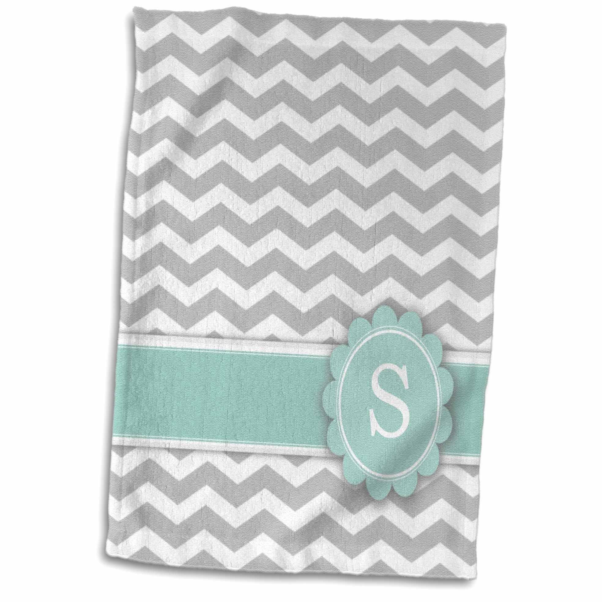 3D Rose Letter S Monogrammed on Grey and White Chevron with Mint-Gray Zigzags-Personal Initial Zig Zags Towel, 15'' x 22'', Multicolor