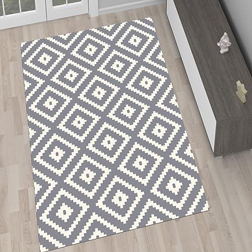 Amazon.De: Designer Teppich Wohnzimmer Teppich Kurzflor Schwarz