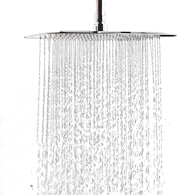 NEW PREMIUM Large Shower Head by Clear Shower XL FIRM PRESSURE Square 18 inch LUXURY Waterfall Full Body Coverage Adjustable Shower Head 45cm Easy to Install Clear Model
