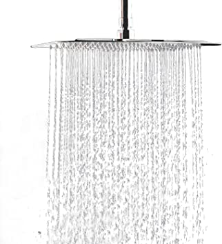 """Silver ! FuSenYing 12/"""" Large Square Rain Showerhead Stainless Steel Shower Head"""