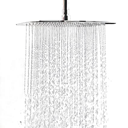 12 Inch Large Square Rain Showerhead Stainless Steel High Pressure