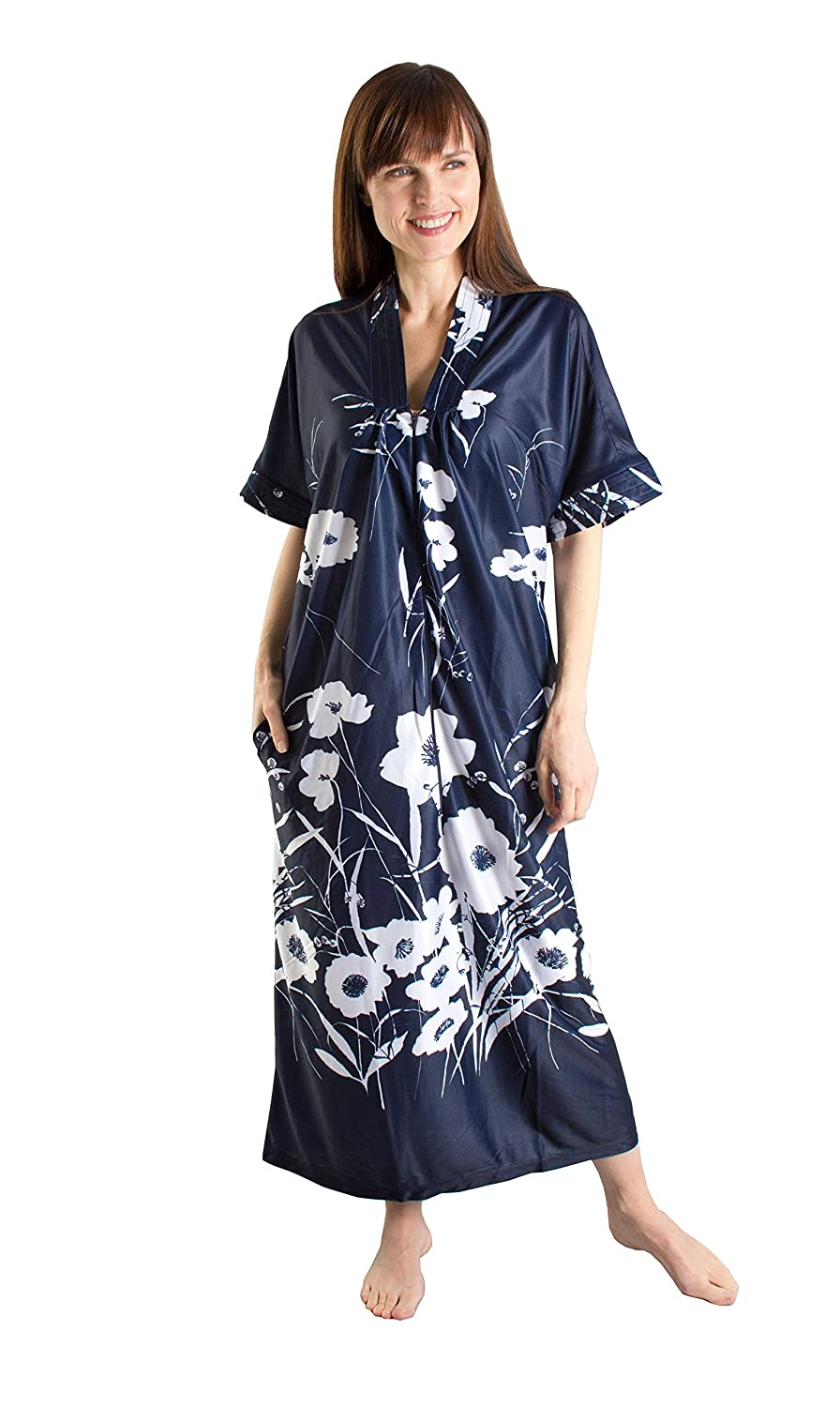 Fashion Friendly Flowing Dark Blue Kaftan with Long Front Zip - Sizes 8-36