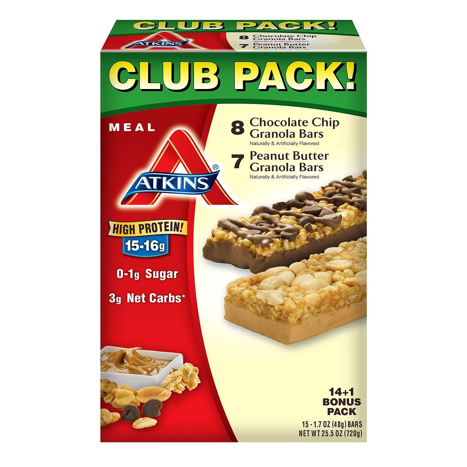 Atkins Meal Bars Variety Pack (14 + 1 Bonus Bar) (pack of 2)