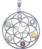 Chakra Anhänger Blume des Lebens, 925 Sterling Silber, sechs facettierte Edelsteine, 1 Mondstein Cabochon in der Mitte,Versand innerhalb 24 Stunden !!!