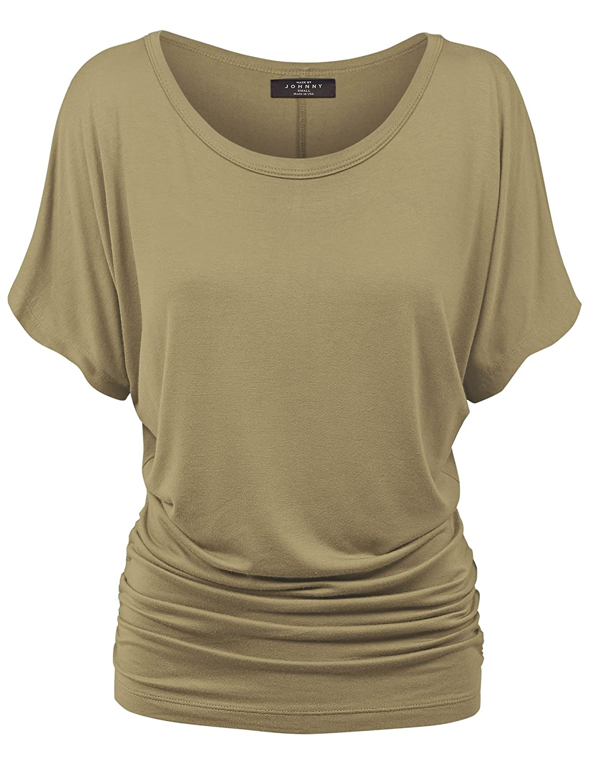ab03bc95270 Made By Johnny MBJ WT817 Womens Dolman Drape Top with Side Shirring XXXXXL  Taupe at Amazon Women s Clothing store