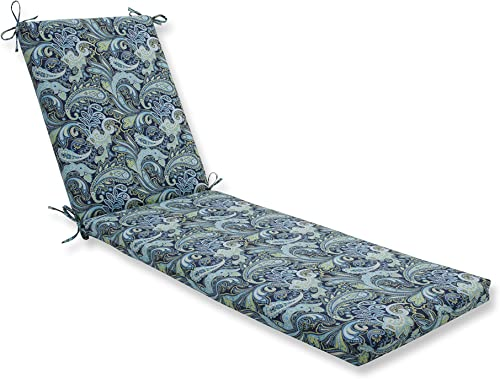 Pillow Perfect Outdoor Indoor Pretty Paisley Navy Chaise Lounge Cushion 80x23x3,Blue
