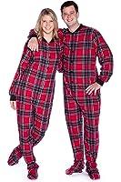 Red & Black Plaid Cotton Flannel Adult Footie Pajamas Onesie Footed Pajamas