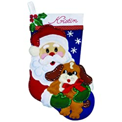 Santa and Puppy Stocking Felt Applique Kit-18 Long