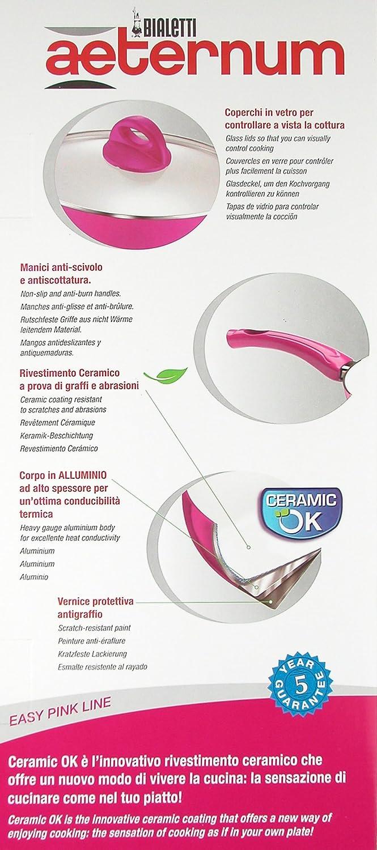 Ideas de cocina: CERAMIC BATERÍA Aceptar BIALETTI Aeternum 8 piezas: 3 PANS (diámetros 28, 20, 24 cm) + 2 sartenes (20, 16 cm) + 3 COVERS Fácil rosa.