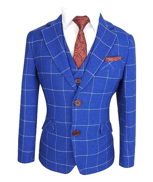 Traje a Cuadros en Azul Real de Diseño Exclusivo Slim Fit para ...