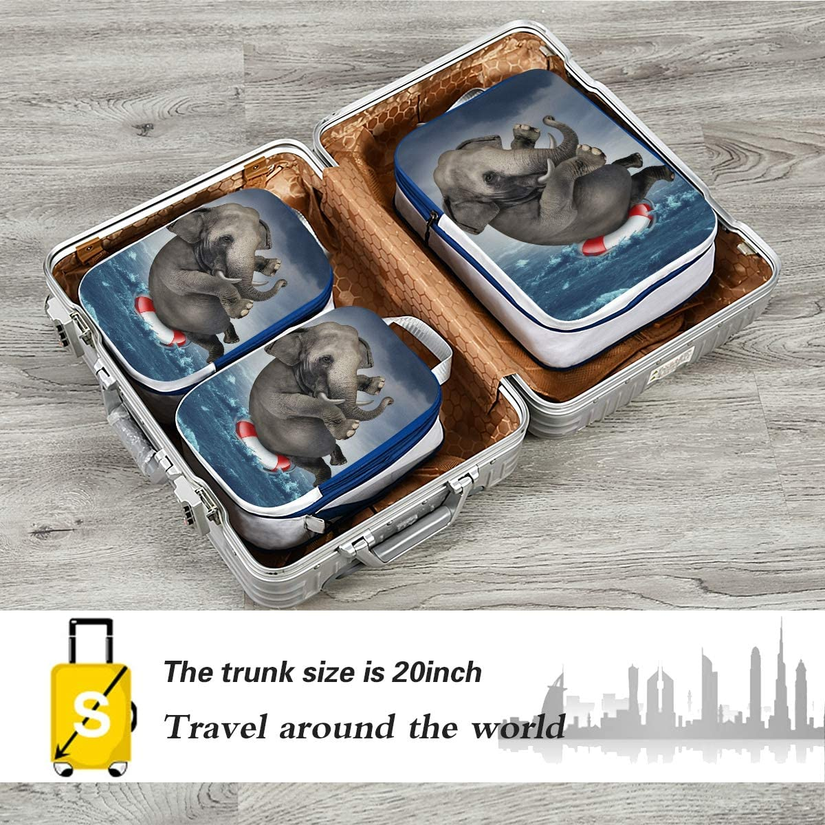 Surviving Adversity Elephant 3 Set Packing Cubes,2 Various Sizes Travel Luggage Packing Organizers m