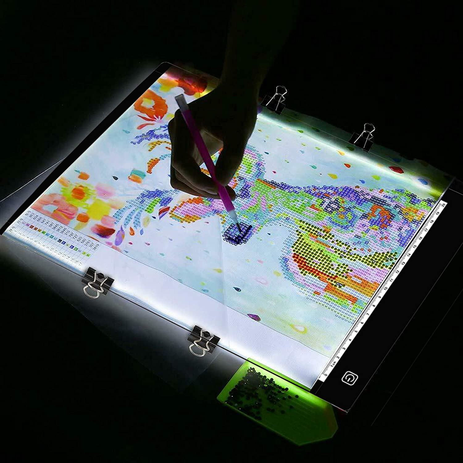 A4 Letter Paper Size Ultra-Thin Portable LED Light Art Tracing Box Light Tracer Pad Work w USB Power and Battery for 5D DIY Diamond Painting Artists Tracing Drawing Sketching Animation Black