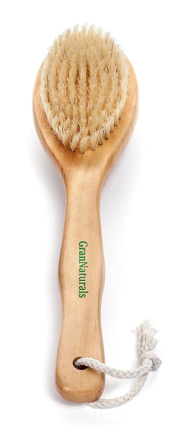 Dry Brushing Body Exfoliating Brush - Natural Bristle Anti Cellulite Massager Treatment Body Scrub Skin Exfoliator - Back, Foot, Legs, Body Scrubber - Used for Lymphatic Drainage, Ingrown Hair Bumps