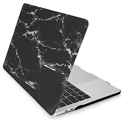 Mygadget Coque Marbre Pour Apple Macbook Pro 13 Modele A1706 A1708 Mac 2017 2016 Usb C Case Marble Rigide Slim Hardshell Cover Noir