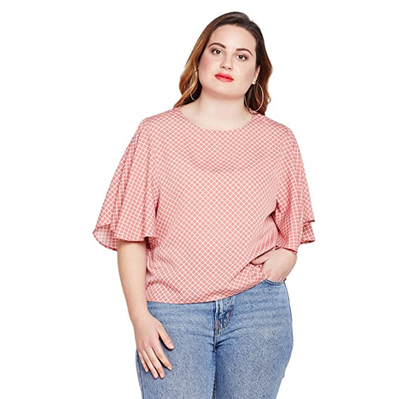 d6dbb424dbc243 STYLE QUOTIENT Women Checked Top Office, Plus Size Western Wear Casual,  Party Wear Tops Big Size - Coral: Amazon.in: Clothing & Accessories