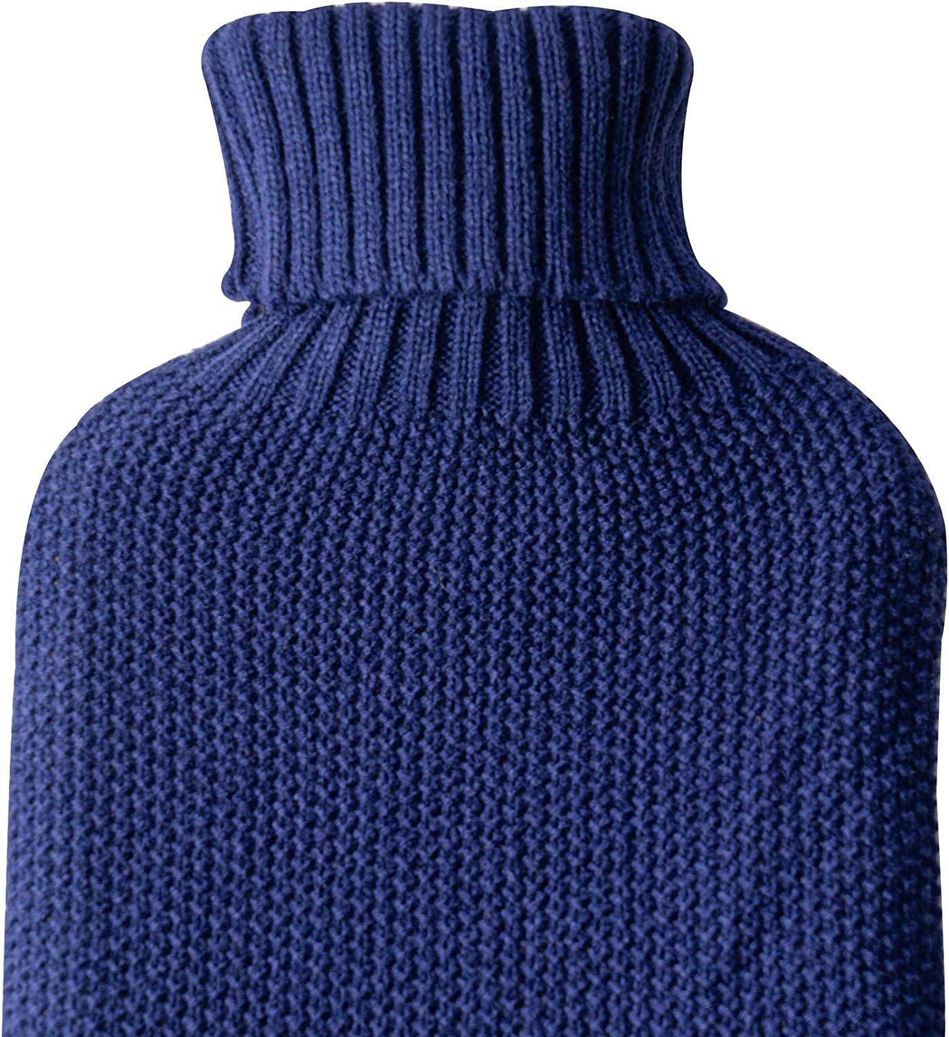 Nicola Spring Hot Water Bottle Knitted Cover Cover ONLY Midnight Blue Cosy Turtleneck Sleeve Fits Standard 2L Bottles