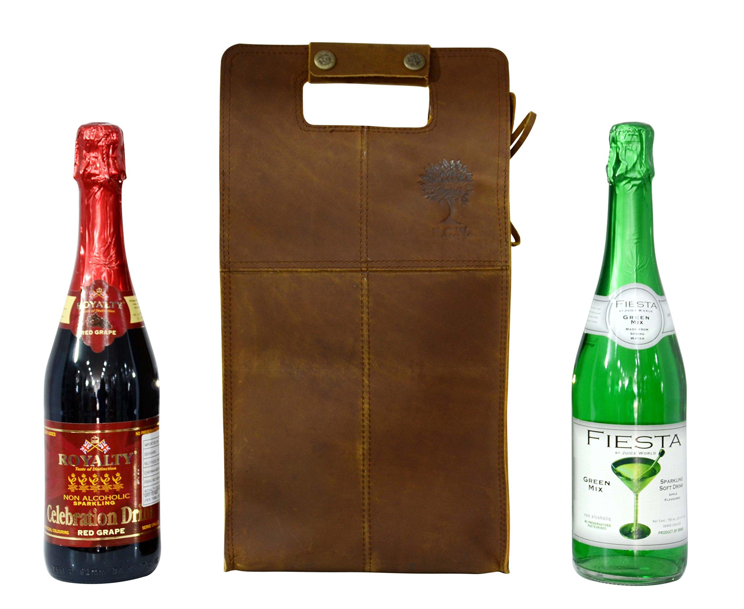 Double Wine Bottle Carrier Bag Leather Bottle Holder Tote Reusable Gift Bag Champagne Case, Valentines Gift Bag by ECOCRAFTWORLD (Image #2)