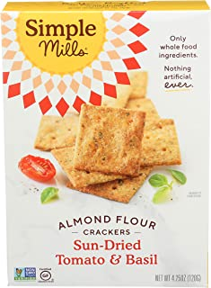product image for Simple Mills Almond Flour Crackers, Sundried Tomato & Basil, Gluten Free, Flax Seed, Sunflower Seeds, Corn Free, Good for Snacks, Made with whole foods, (Packaging May Vary), 4.25 Ounce