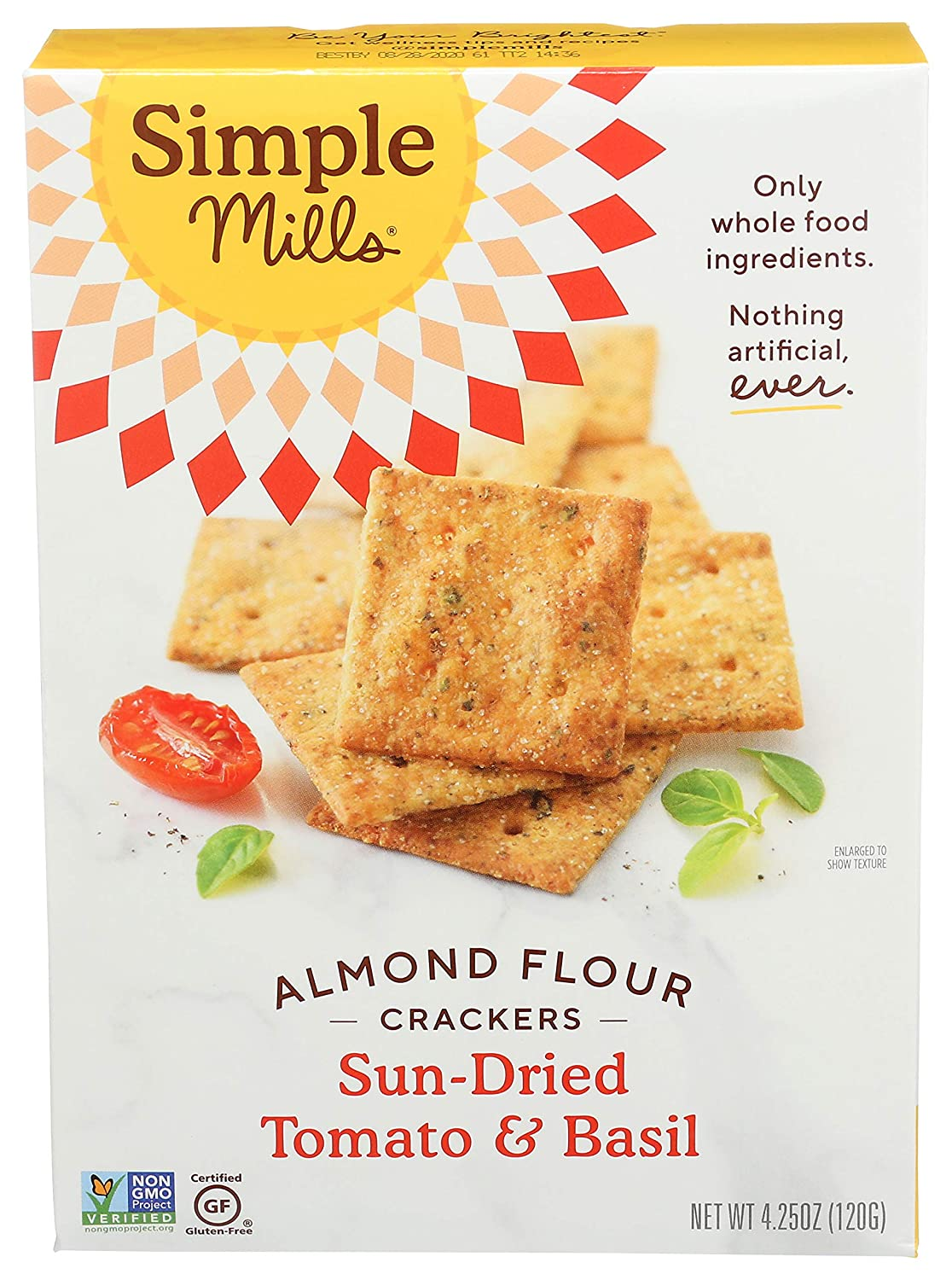 Simple Mills Almond Flour Crackers, Sundried Tomato & Basil, Gluten Free, Flax Seed, Sunflower Seeds, Corn Free, Good for Snacks, Made with whole foods, (Packaging May Vary)