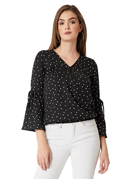 3c74ee24ac67ce Miss Chase Women s Polka dot Regular fit Top (MCSS18TP11-29-171-02 Base