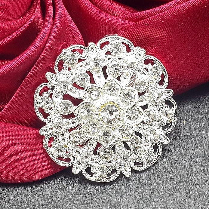 12pc//lot Gold//Silver Rhinestone Crystal Brooch Pin DIY Wedding Bouquet 3cm-3.5cm