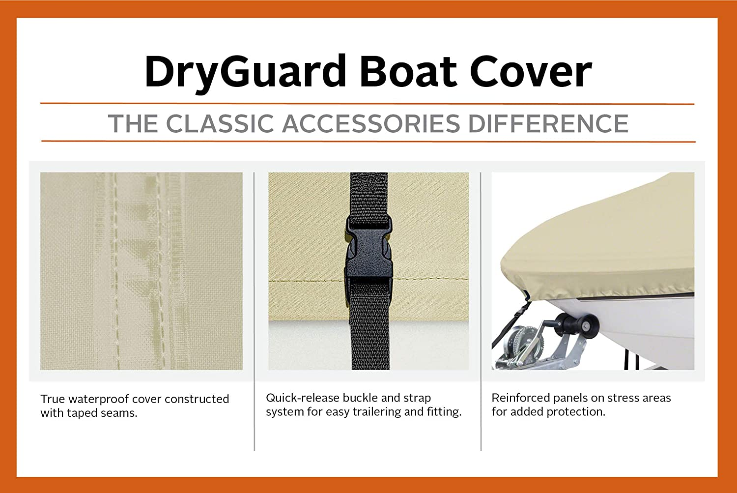 Classic Accessories DryGuard Heavy Duty Waterproof Boat Cover For Bass Boats 16-18.5 L Up to 98 W