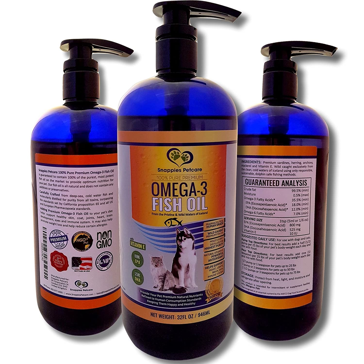 Amazon : Omega3 Fish Oil Liquid For Pets  100% Pure & Natural Omega 3  Fish Oil For Dogs & Cats  32oz Snappies Unscented Liquid Fish Oil For Cats
