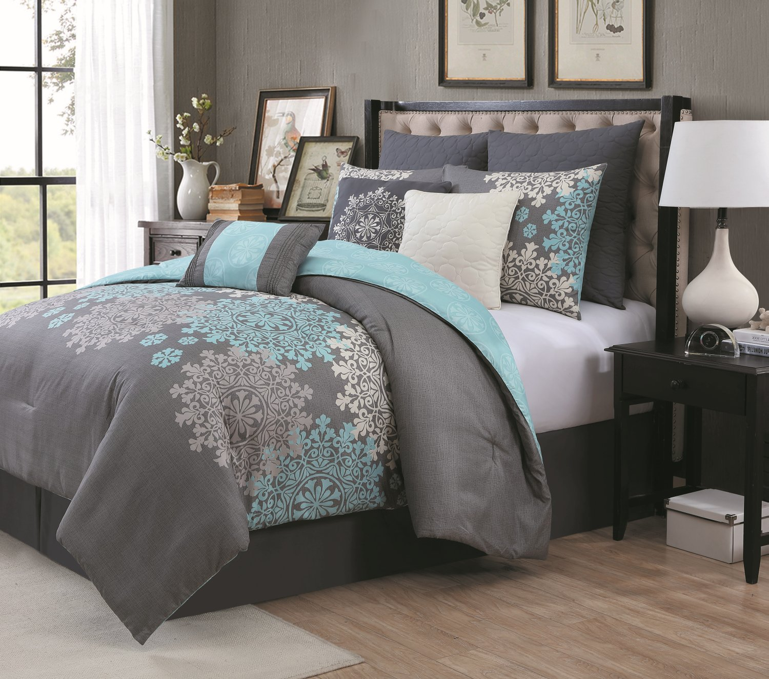 Reversible comforter sets ease bedding with style for Bedroom set and mattress