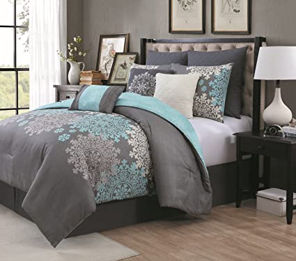Avondale Manor 9 Piece Amber Comforter Set, Queen, Aqua