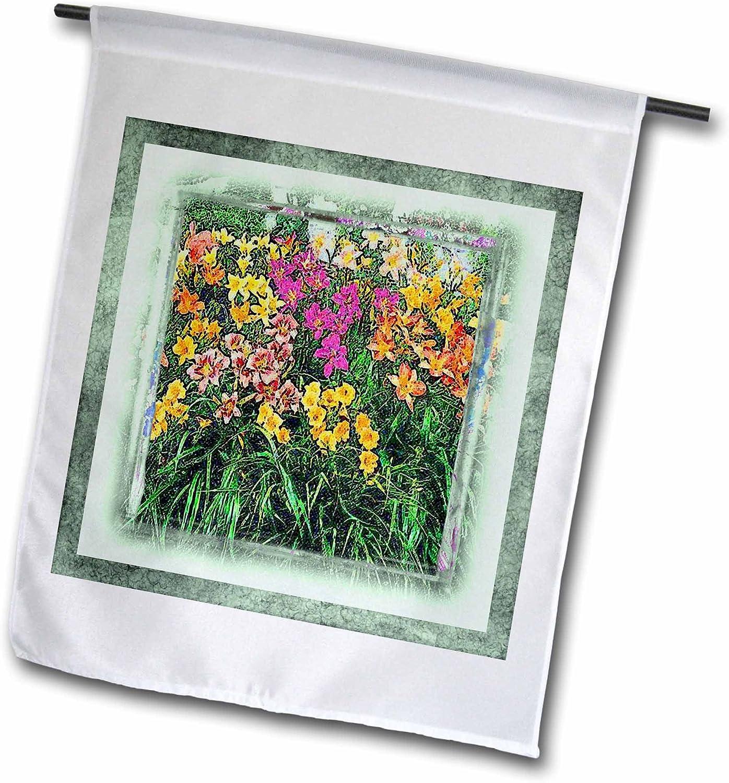 3dRose fl_14848_1 Daylilies Garden Flag, 12 by 18-Inch