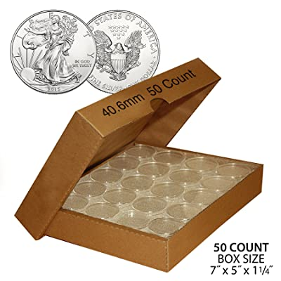 50 US 1oz SILVER EAGLE Direct-Fit Airtight 40.6mm Coin Capsule (QTY: 50) w/BOX: Everything Else