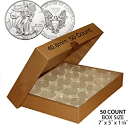 50 US 1oz SILVER EAGLE Direct-Fit Airtight 40.6mm Coin Capsule (QTY: