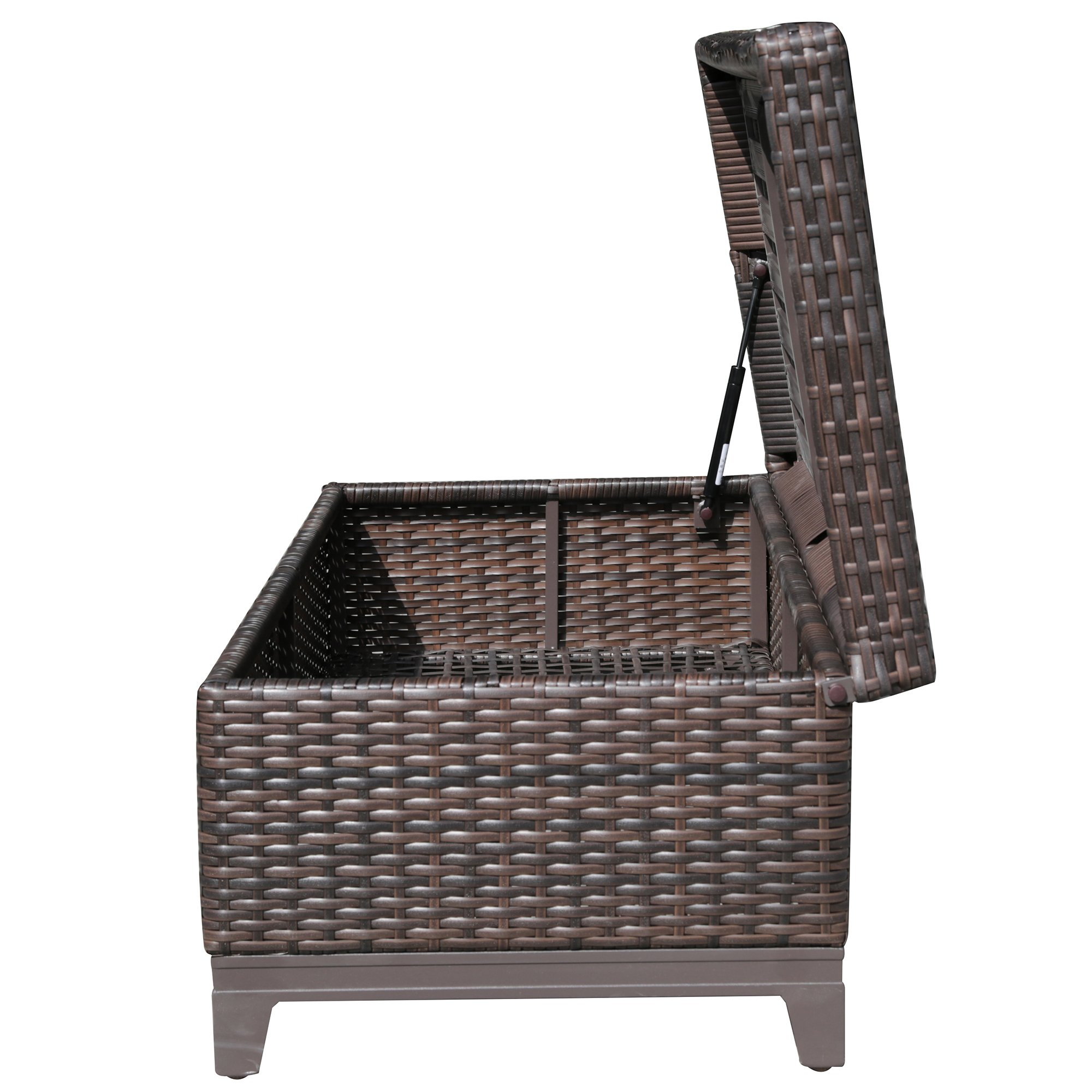 PATIOROMA Outdoor Patio Aluminum Frame Wicker Cushion Storage Ottoman Bench with Seat Cushion, Espresso Brown by PATIOROMA (Image #6)
