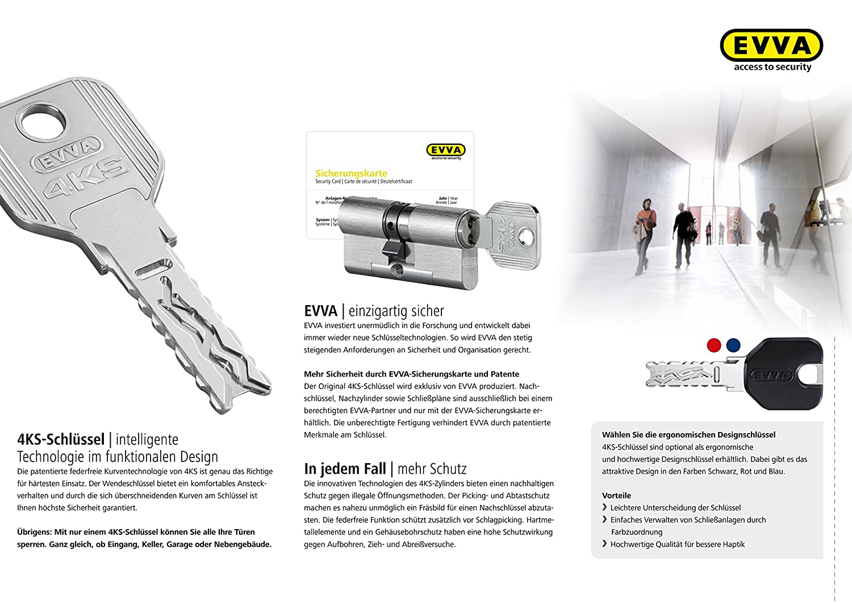 Chrom poliert 5 Schl/üssel Patentschutz bis 2035 4-Kurven Technologie EVVA 4KS Hochsicherheits-Doppelzylinder mit Not- und Gefahrenfunktion 31//36 inkl alle L/ängen von 30//30 bis 60//60 ausw/ählbar