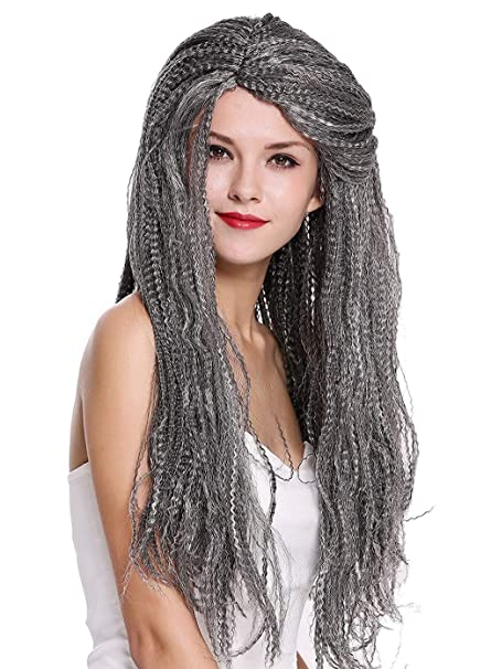 Peluca Mujer Hombre Carnaval Halloween Larga Mezcla Gris ...