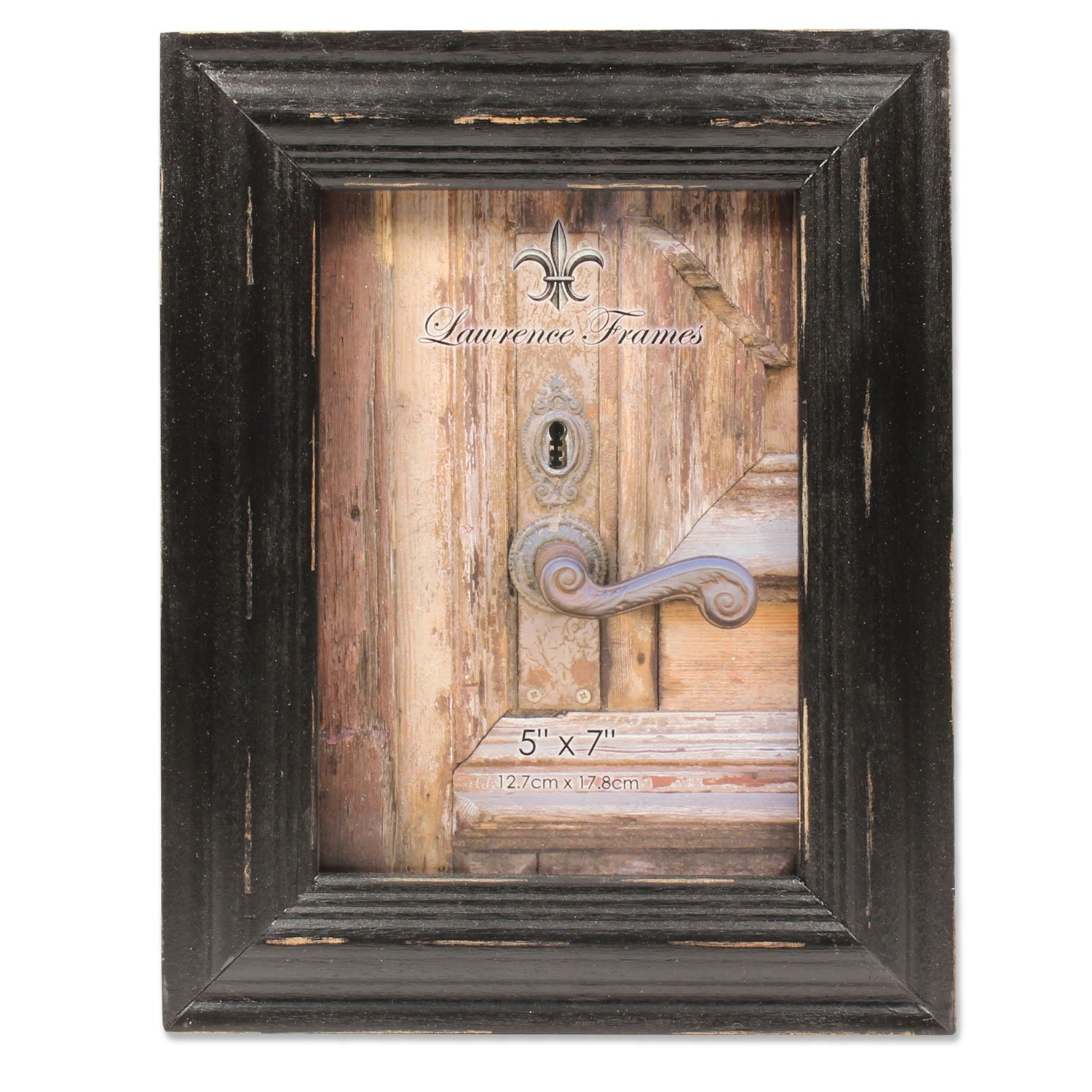 5x7 Weathered Black Wood Picture Frame by Lawrence Frames