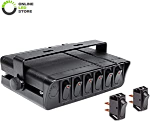 6-Gang 12V Rocker Switch Box w/Momentary Switches [60 Amp Max.] [12 AWG Wires][12 Volt DC] SPST On/Off Rocker Toggle Switch Panel Box for Jeep Auto Automotive Lights Car Marine Boat Truck Vehicles…